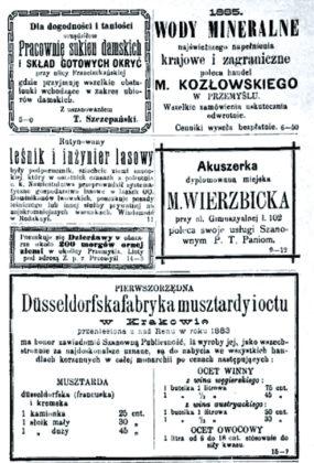 Blok reklamowy wukazuj¦ůcym si¦Ö naziemi sanockiej iprzemyskiej czasopiŤmie Echo znadSanu z1885 roku 285x420 - Oreklamach zdawnych gazet