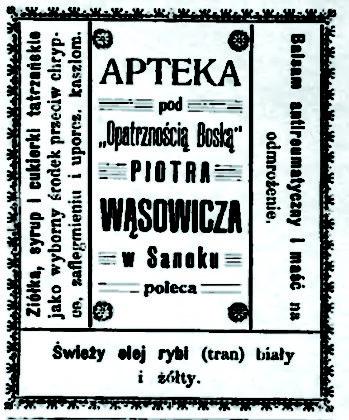 Reklama Apteki pod OpatrznoŤci¦ů Bosk¦ů w Sanoku 349x420 - O reklamach z dawnych gazet