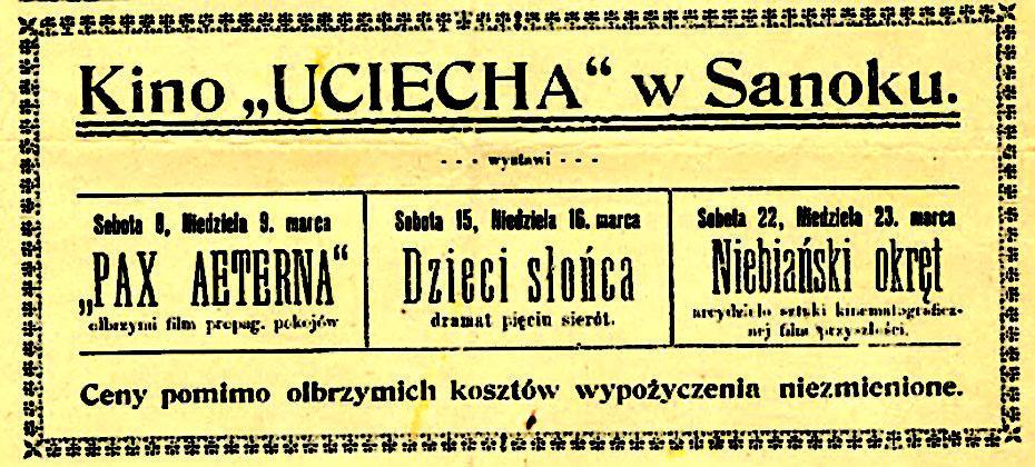 Reklama kina U ciecha w Sanoczaninie z 1919 roku 1 930x420 - O reklamach z dawnych gazet