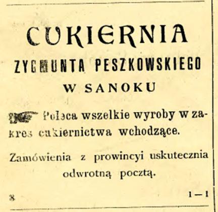 reklama cukierni nale ¦ůcej do ojca ksi¦Ödza Zdziséawa Peszkowskiego 432x420 - O reklamach z dawnych gazet