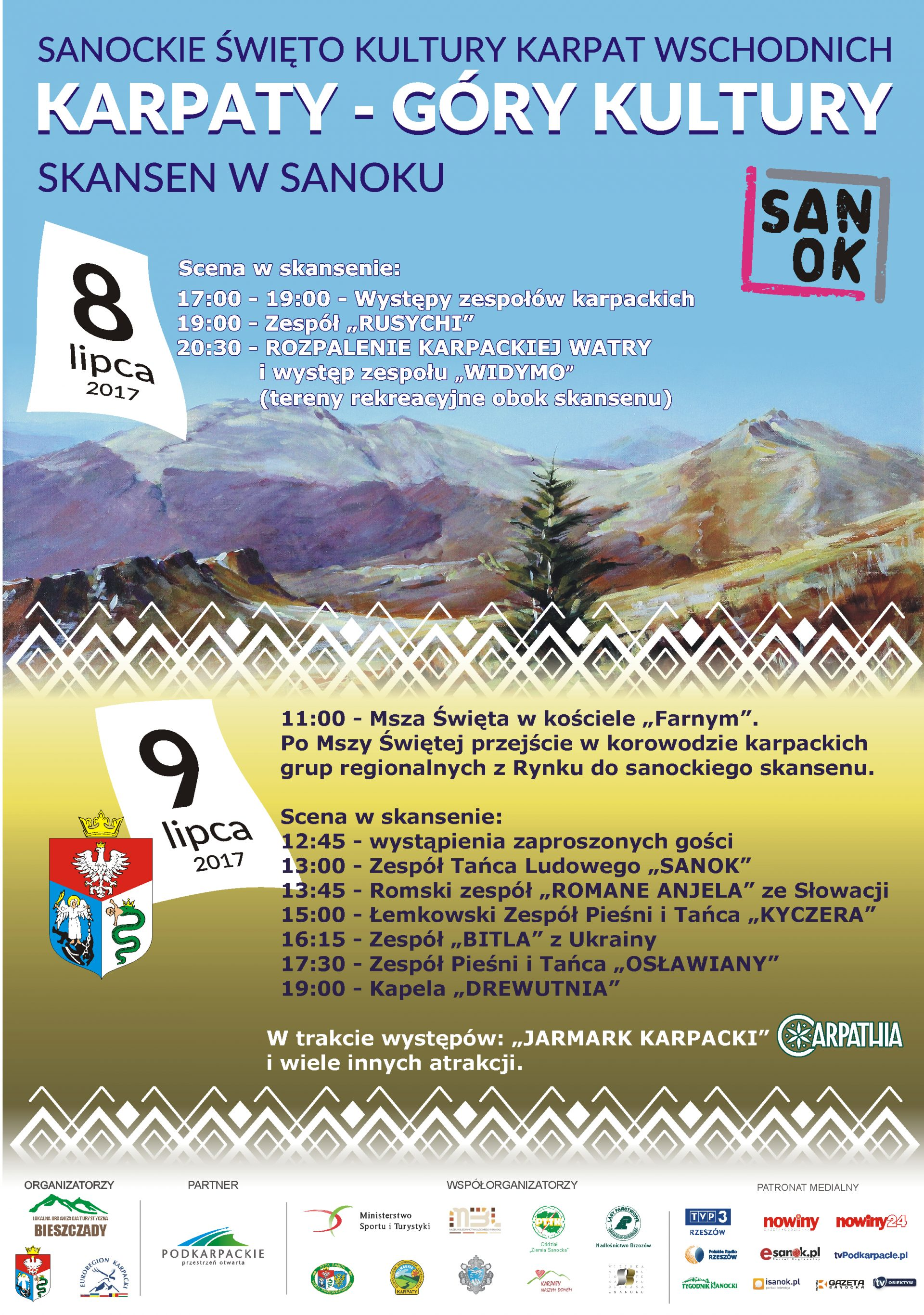 "plakat Karpaty Góry Kultury e1498123675354 - Sanockie Święto Kultury Karpat Wschodnich ""Karpaty - Góry Kultury"""