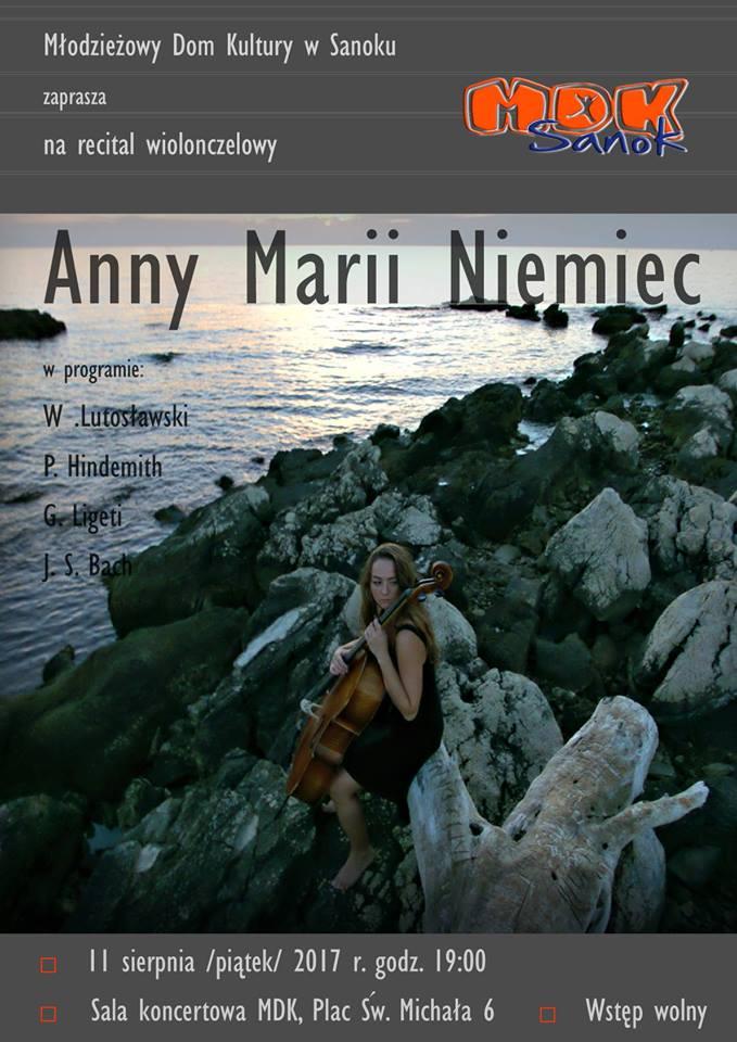 20664088 1898795143778305 2136275441994213030 n - Młodzieżowy Dom Kultury zaprasza na recital wiolonczelowy Anny Marii Niemiec