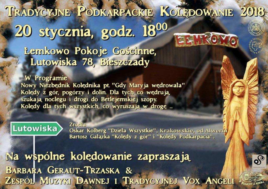 1 Plakat Łemkowo Kolędowanie 20.01.18 1 1024x724 - Vox Angeli zaprasza na wspólne kolędowanie