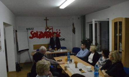 Paweł Hydzik na spotkaniu z NSZZ Solidarność