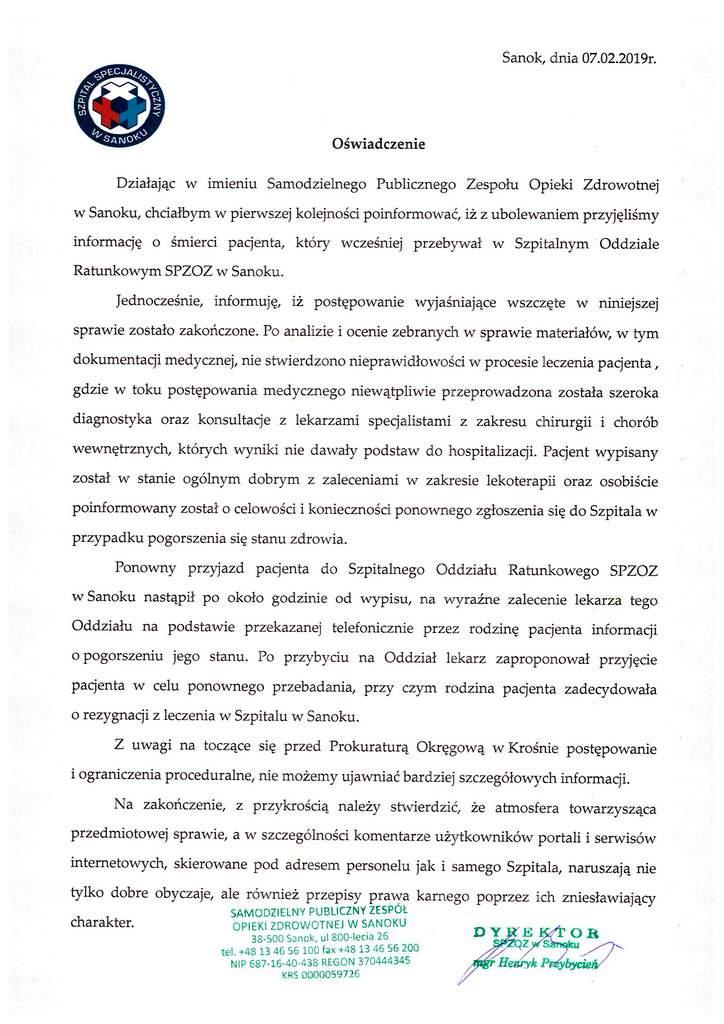 Oświadczenie Dyrektora SP ZOZ wSanoku - Brak nieprawidłowości wleczeniu pacjenta