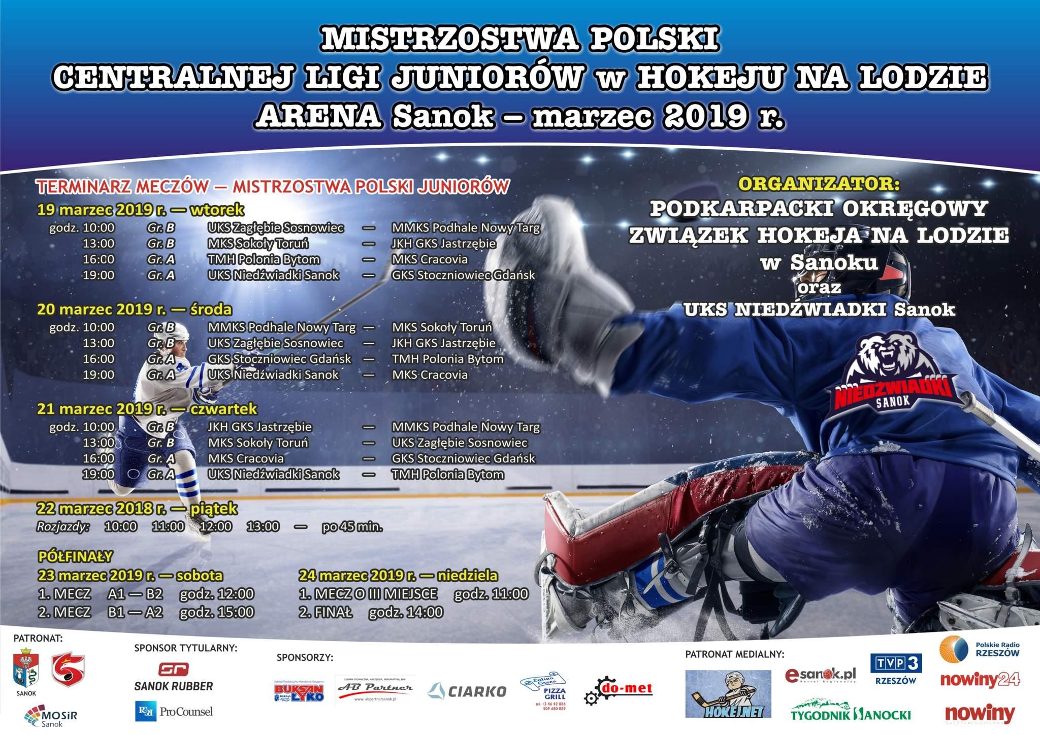 Mistrzostwa Hokej 2019 - TERMINARZ MECZÓW MISTRZOSTWA POLSKI JUNIORÓW