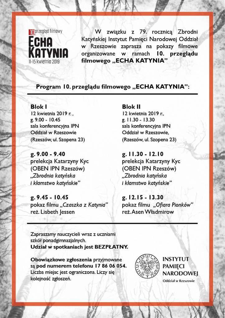 """10. przegląd Echa katynia program rzeszów 724x1024 - Przegląd filmowy """"Echa Katynia"""""""