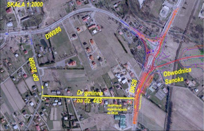 w dniu 27.05.2019 zamknięty zostanie wjazd i wyjazd na drogę krajową 28 z ulicy wewnętrznej położonej na działce nr 465 Gmina Sanok Obręb Czerteż