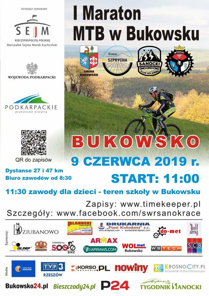 """PLAKAT MTB 2a net 724x1024 - I Maraton MTB Bukowsko """"Szprycha"""""""