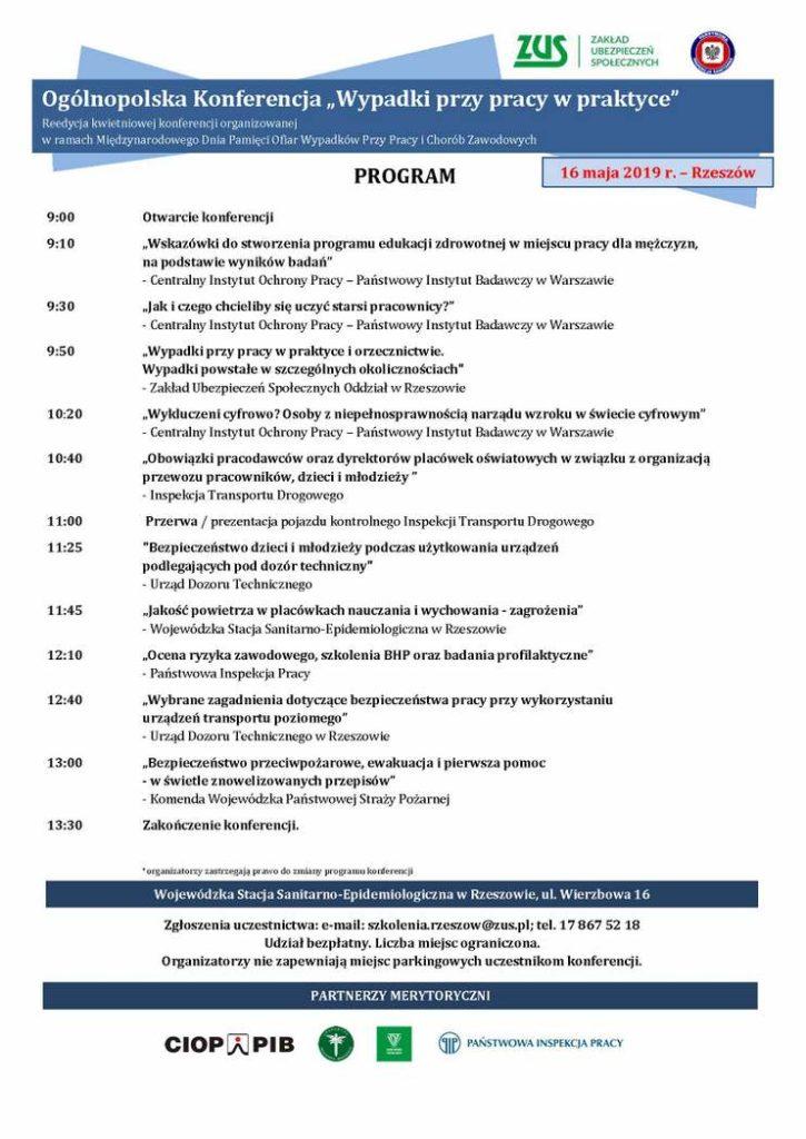 Program 16 maja 725x1024 - Zakład Ubezpieczeń Społecznych zaprasza nakonferencją poświęconą bezpieczeństwu wpracy
