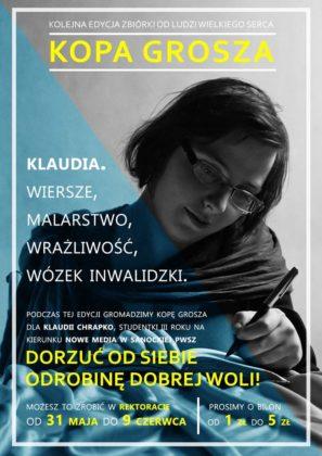 "klaudia web 297x420 - ""Kopa grosza"" dla Klaudii Chrapko! Akcja PWSZ Sanok"
