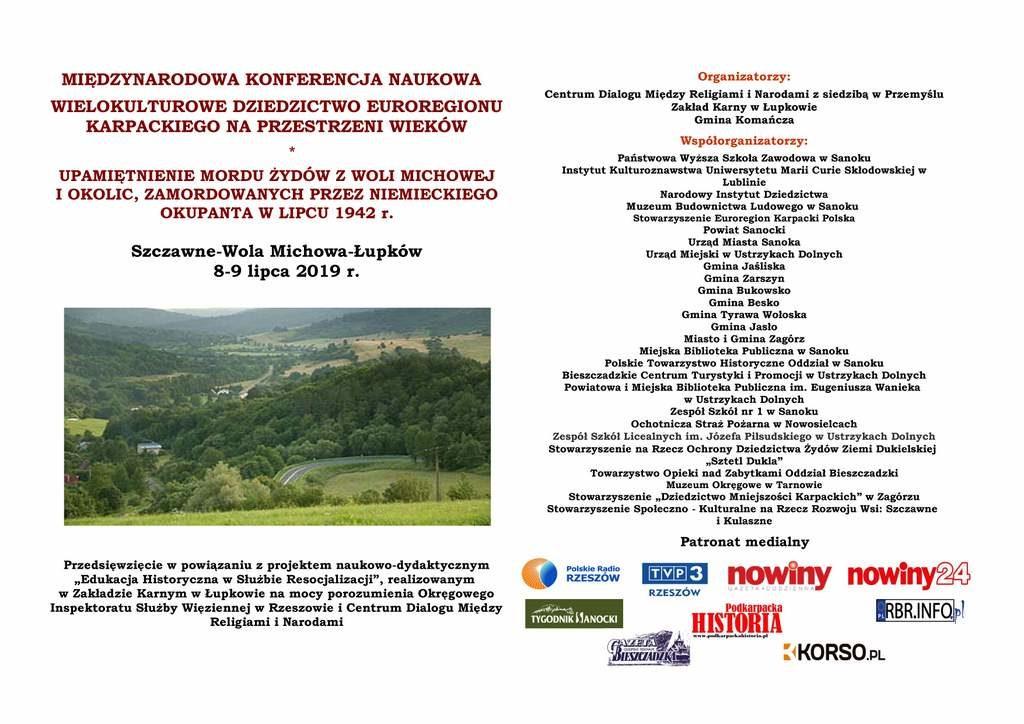 KONFERENCJA I UPAMIĘTNIENIE 8 9 lipca 2019 r. Szczawne Wola Michowa Łupków 1 Strona 1 1024x724 - WIELOKULTUROWE DZIEDZICTWO EUROREGIONU KARPACKIEGO NA PRZESTRZENI WIEKÓW - konferencja naukowa