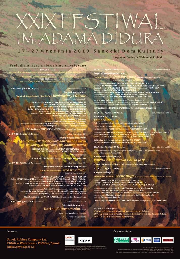 XXIX Festiwal im.Adama Didura 2019 plakat - Program XXIX Festiwalu im. Adama Didura