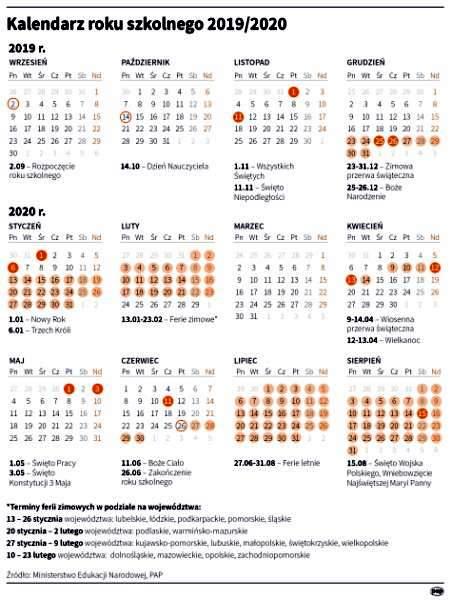 kalendarz - Kalendarz roku szkolnego 2019/2020