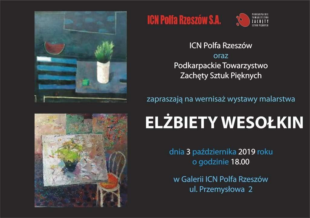 Zaproszenie E. Wesołkin 1024x722 - Wystawa malarska Elżbiety Wesołkin