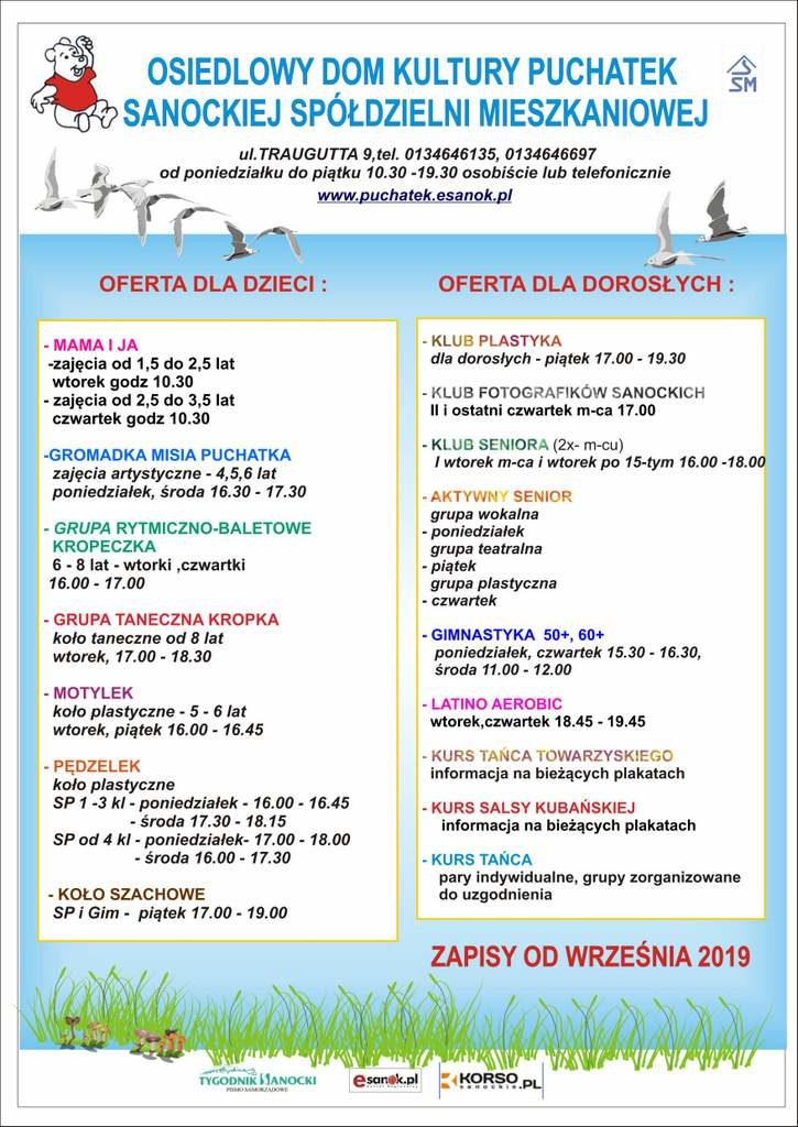 afisz ogólny druk 725x1024 - ODK Puchatek zaprasza na zajęcia pozalekcyjne dla dzieci i dorosłych