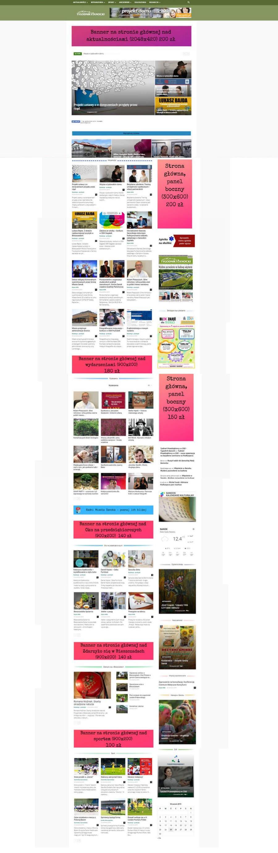 reklama strona główna - Cennik