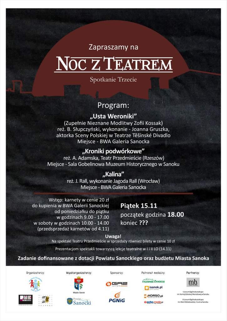 Noc z teatrem plakat 2019b - Tygodnik Sanocki