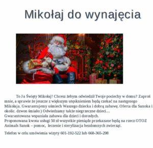 mikołaj 300x290 - Chcesz sprawić przyjemność swojemu dziecku, spełnić marzenie o Świętym Mikołaju ?