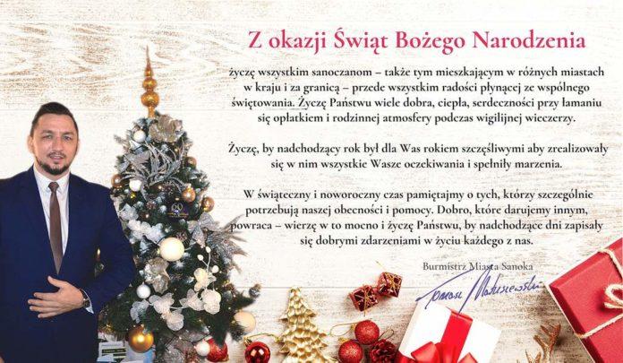 Życzenia świąteczne od Burmistrza Miasta Sanoka Tomasza Matuszewskiego