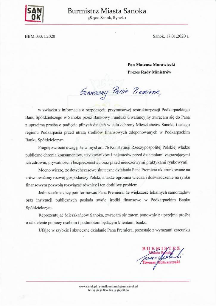 Scan pismo - Burmistrz Matuszewski pisze do premiera Morawieckiego w sprawie PBS