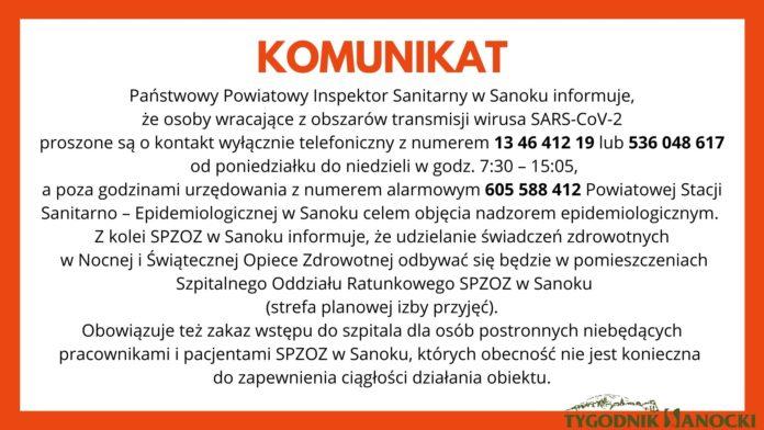 Komunikat dla osób wracających z obszarów transmisji wirusa SARS-CoV-2