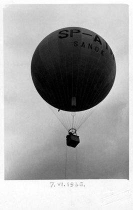 "Próbny lot balonu ""Sanok"" Autor: Leon Gottdank : 7.06.1936"