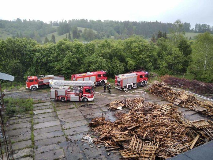 Pożar sortowni węgla drzewnego