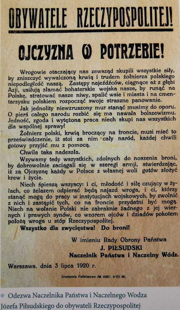 Odezwa 3 lipca 1920 - Tygodnik Sanocki