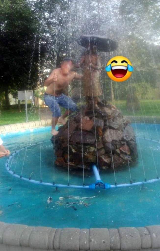 Interwencja - niszczenie fontanny