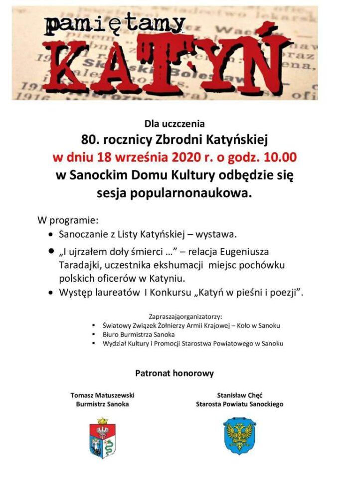80. Rocznica Zbrodni Katyńskiej - zaproszenie