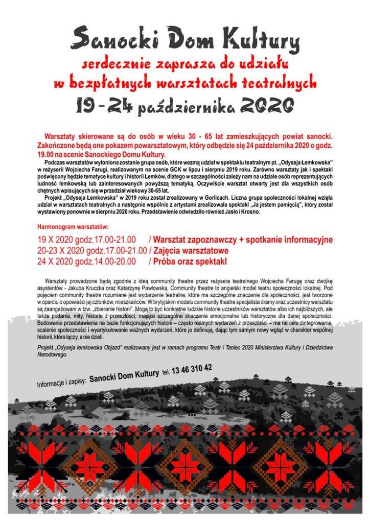 Sanocki Dom Kultury serdecznie zaprasza do udziału w bezpłatnych warsztatach teatralnych realizowanych w SDK w terminie 19-24 października 2020 roku.