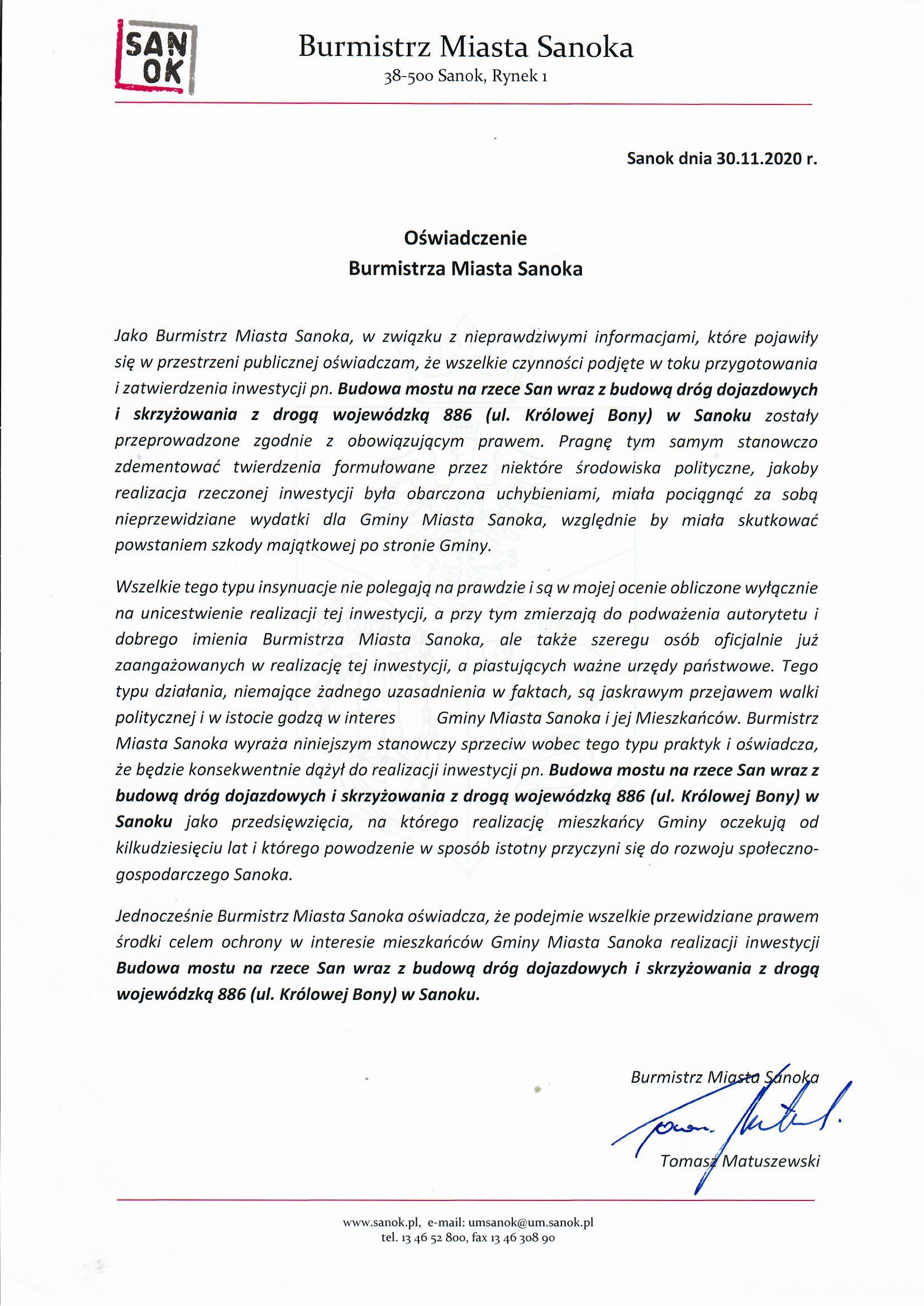 Oświadczenie Burmistrza Miasta Sanoka