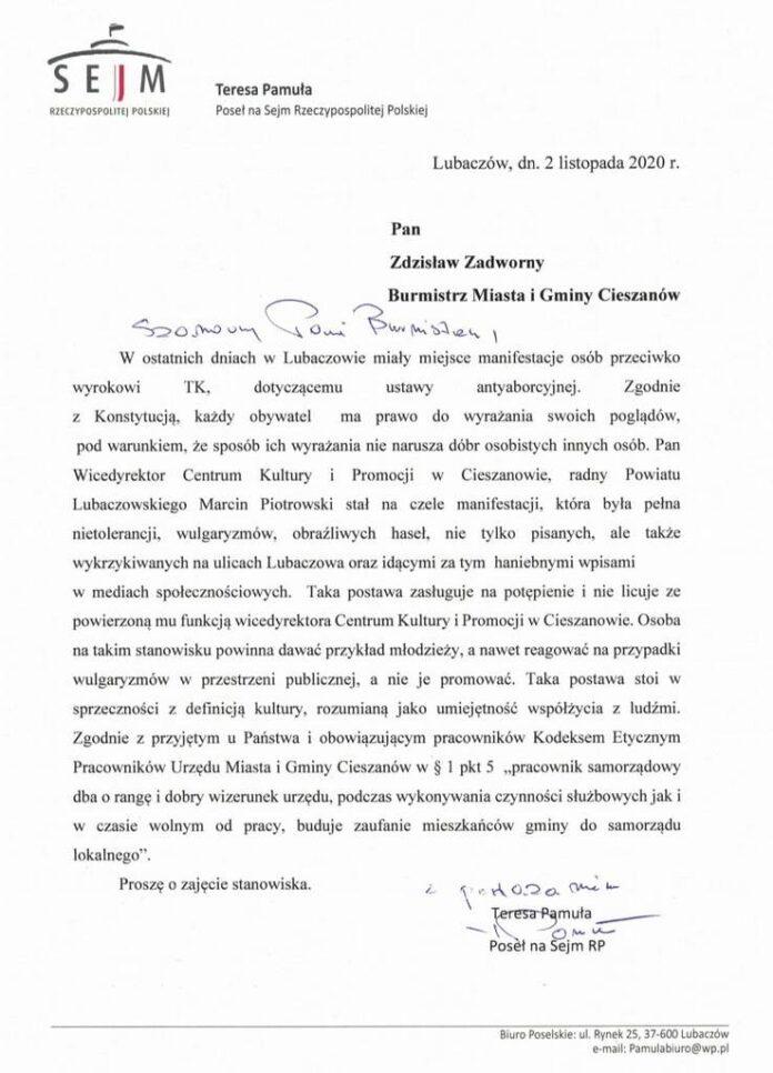 Posłanka na Sejm RP atakuje Strajk Kobiet w Lubaczowie