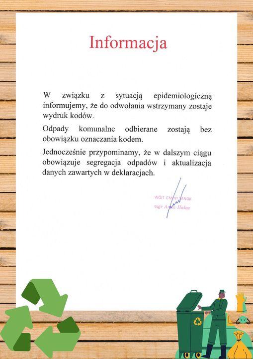 Uwaga! Do odwołania zostaje wstrzymany wydruk naklejek z kodami na śmieci