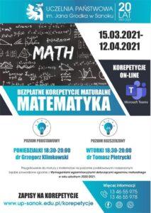 Bezpłatne korepetycje maturalne z matematyki w Uczelni Państwowej!