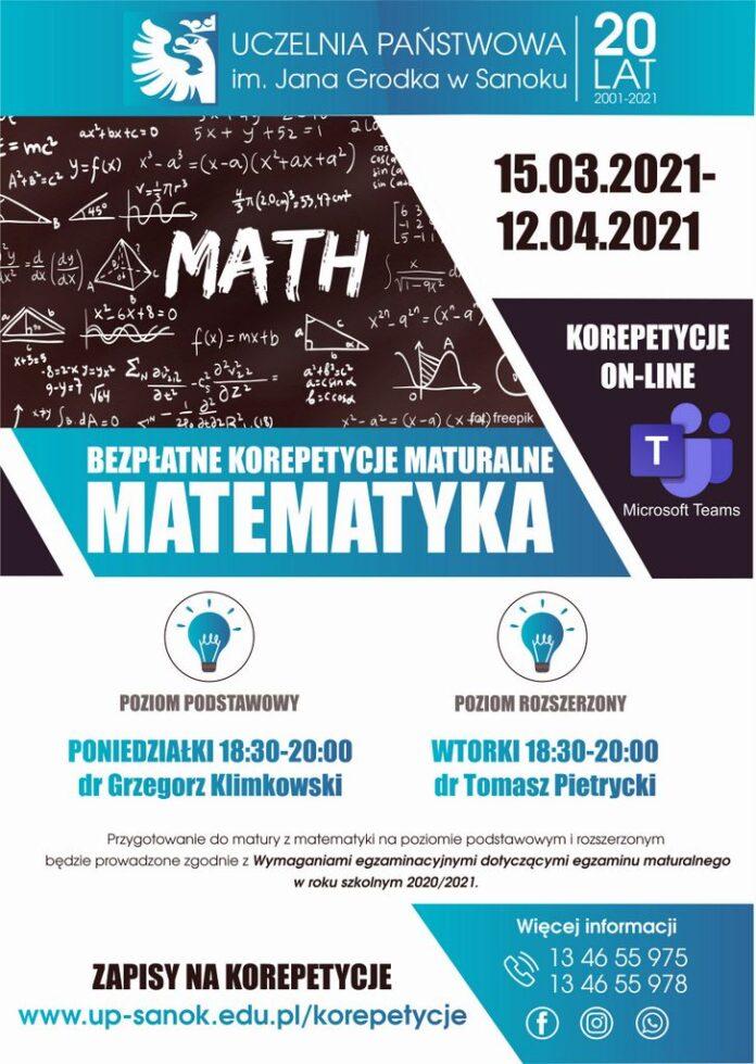 Bezpłatne korepetycje maturalne z matematyki w Uczelni Państwowej w Sanoku